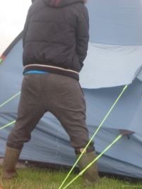 A Man pisses on HIS OWN tent